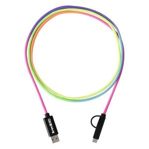 3-In-1 5 Ft. Rainbow Braided Charging Cable