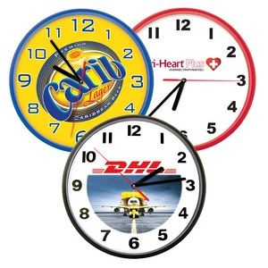 "Clock - 10"" Wall Clock Full Color Dial, available in Black, Red & Royal Blue color rim"