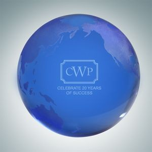 Blue Globe Crystal Paper Weight